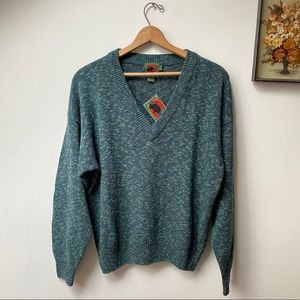NWT Boston Traders Silk Blend Teal V-Neck Sweater